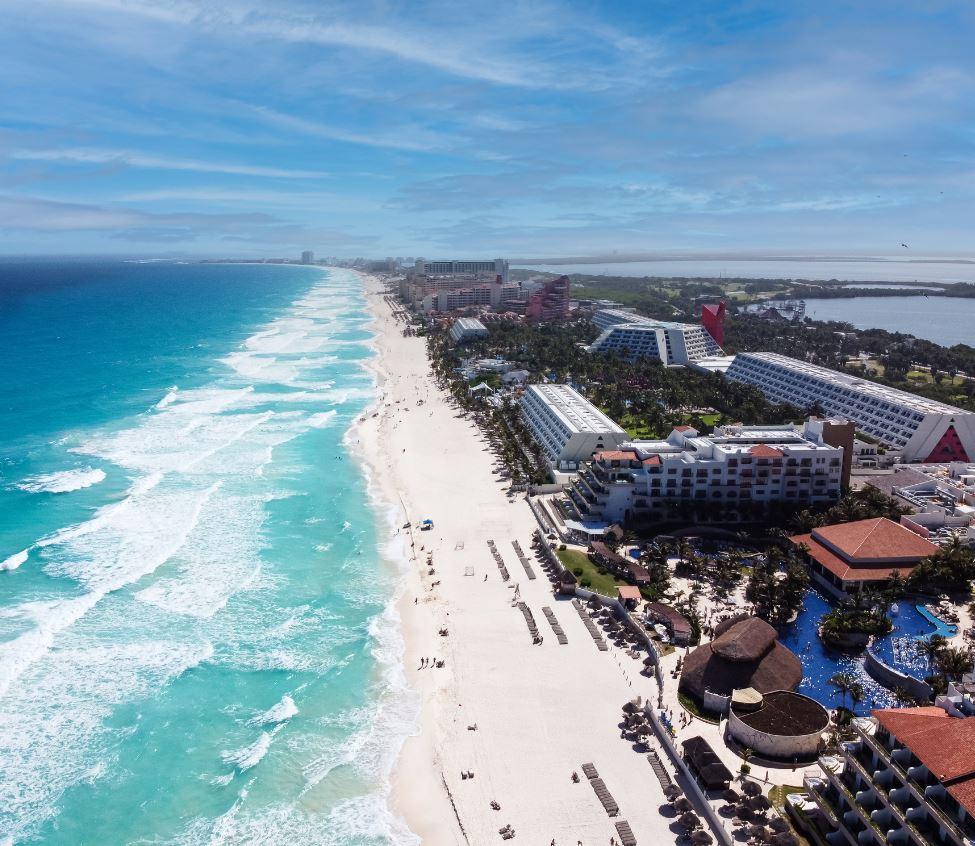 Cancun beach with resorts