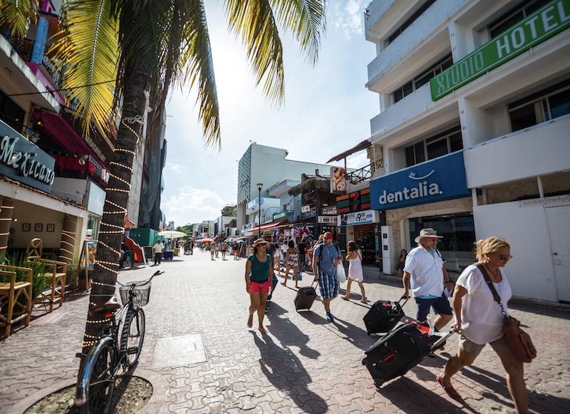American tourists arriving in Playa del Carmen