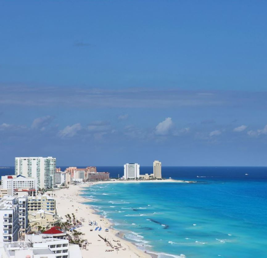 Cancun Beach View with hotels