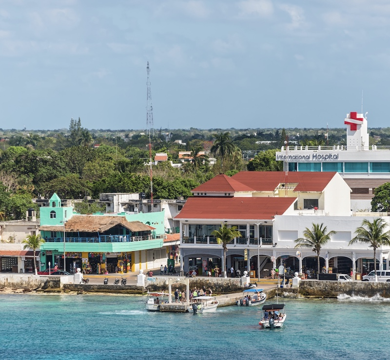 Cityscape of the main city in the island of Cozumel