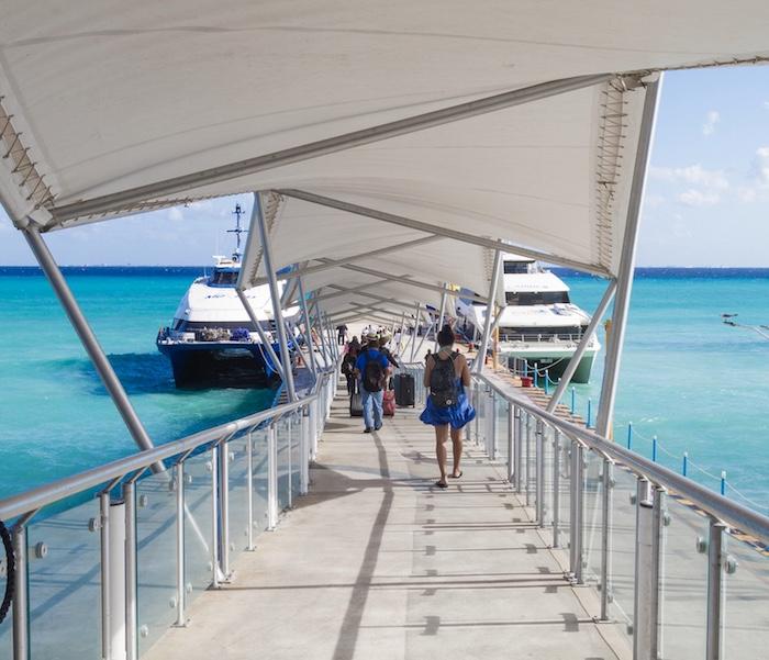 boarding ferry to Cozumel