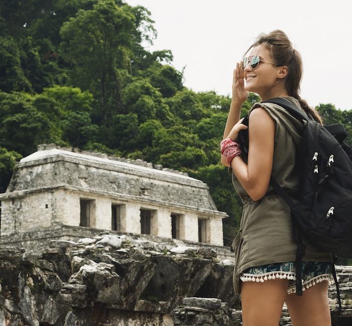 tourist ancient Mayan ruins site