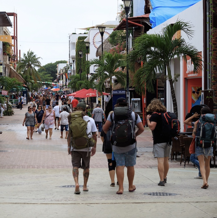 tourists arriving in Playa Del Carmen Cancun
