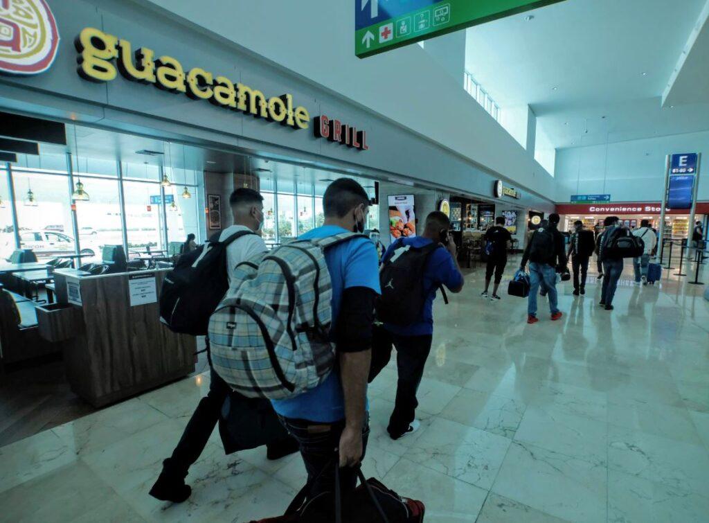 Airport travelers mask