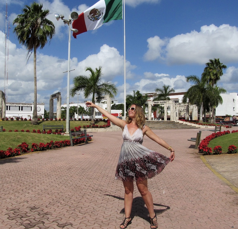 American traveler in Cancun Mexico