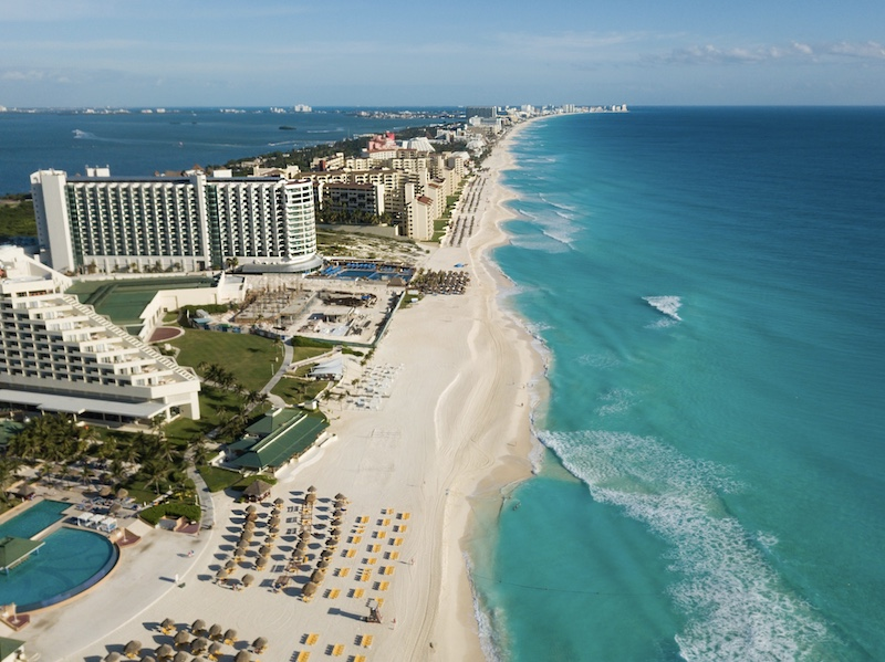 Cancun hotels beach aerial view