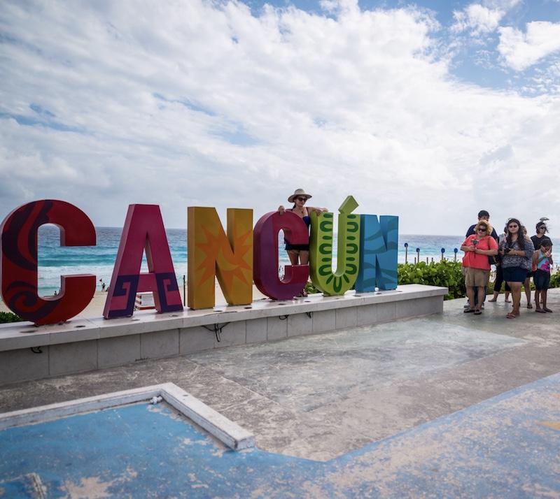 Cancun sign landmark tourists