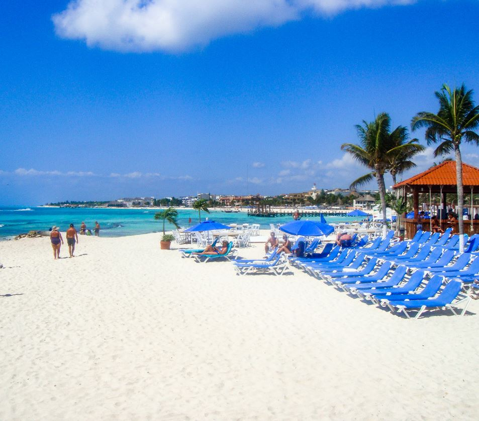 Playa Del Carmen Beach with chairs