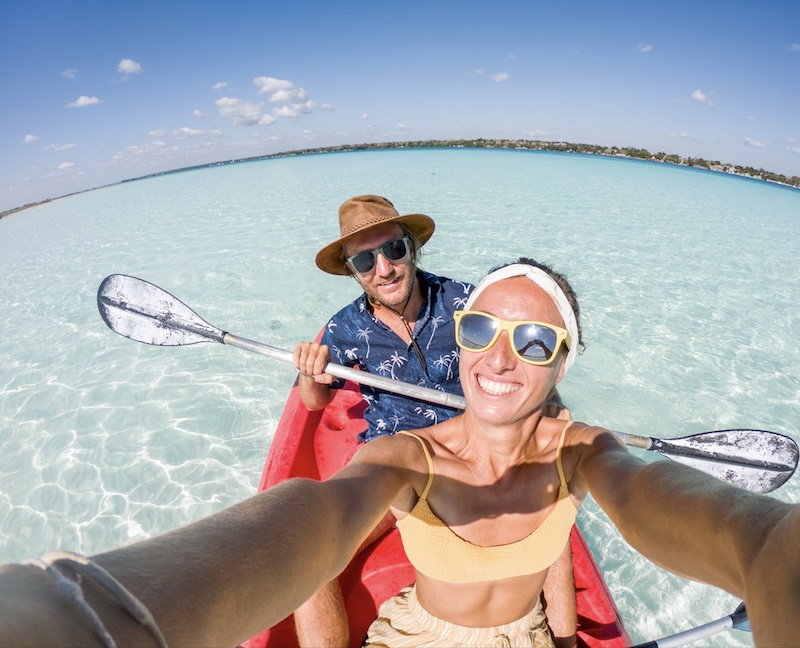 tourists canoeing in Cancun