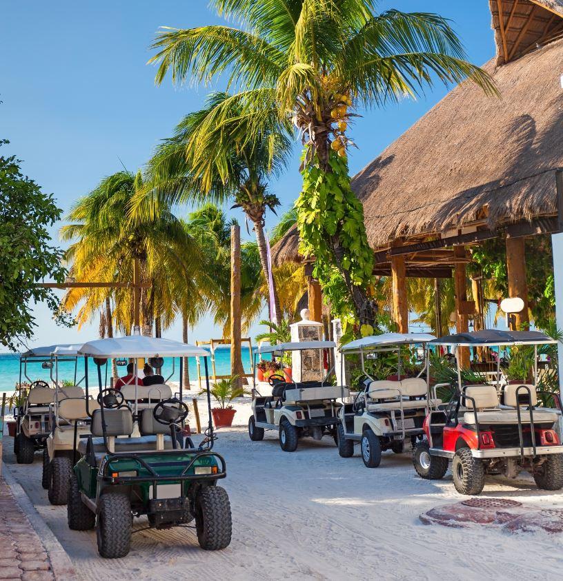 Golf carts on Isla Mujeres