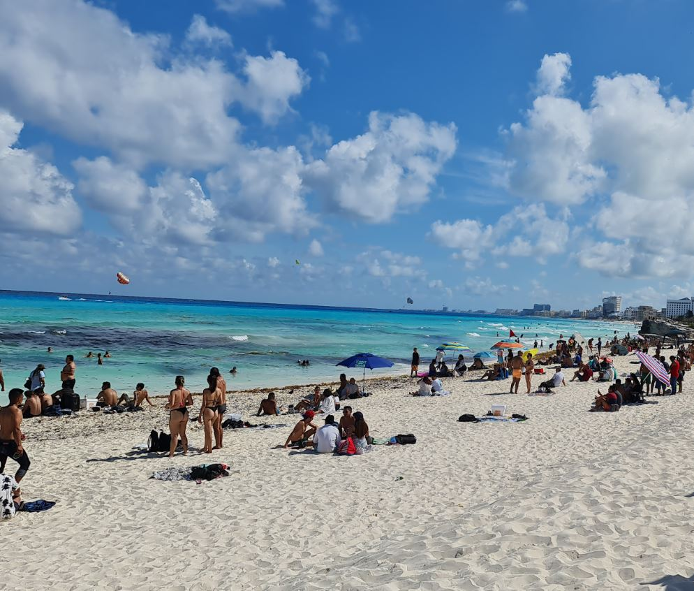 Cancun beach busy with tourists